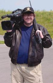 Michael Moore gets tooled up for Bowling For Columbine